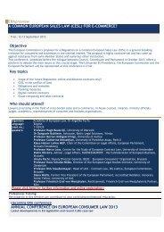 A COMMON EUROPEAN SALES LAW (CESL) FOR E-COMMERCE ...