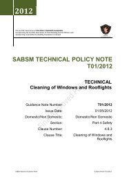 SABSM TECHNICAL POLICY NOTE T01/2012 - East Ayrshire Council