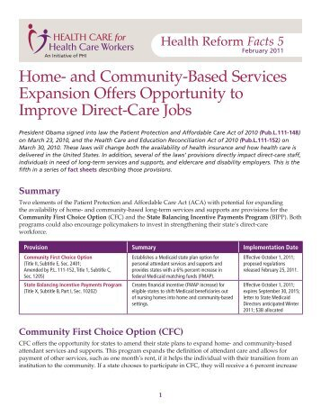 Home- and Community-Based Services Expansion Offers ... - PHI