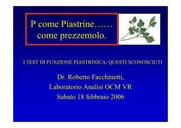I test di funzione piastrinica - Cuorediverona.it