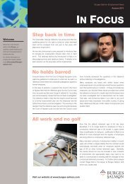 In Focus - Employment Law News - Autumn 2011 - Burges Salmon