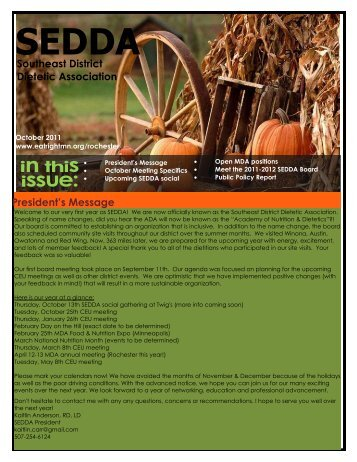 October 2011 Newsletter - Minnesota Academy of Nutrition and ...