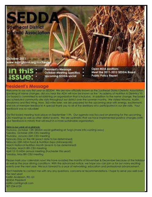 October 2011 Newsletter - Minnesota