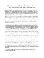 PRESS RELEASE - California Association of Nurse Anesthetists