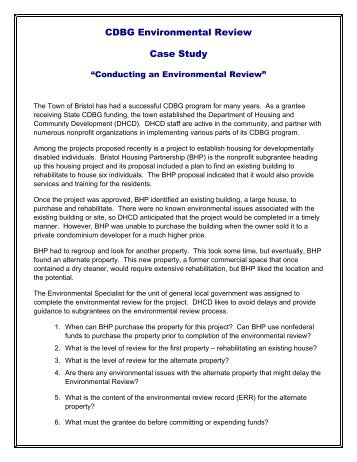 Case Study - Conducting an Environmental Review - OneCPD