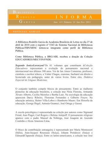 I N F O R M A - Academia Brasileira de Letras