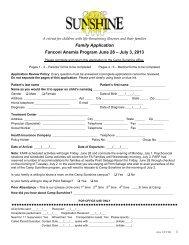 Family Application Fanconi Anemia Program June ... - Camp Sunshine