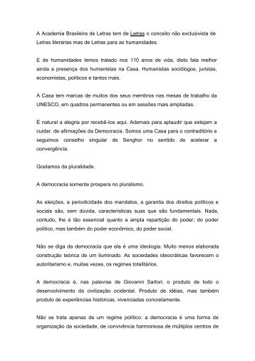 Discurso do Presidente Marcos Vinicios Vilaça - Academia ...