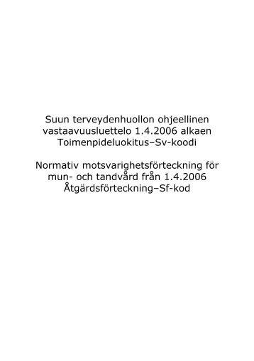 Suun terveydenhuollon vastaavuusluettelo 2006 - Kunnat.net