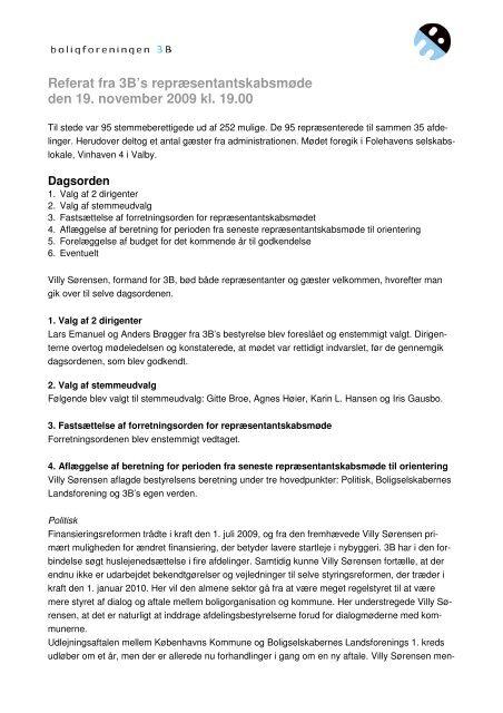 Referat fra 3B's repræsentantskabsmøde den 19. november 2009 kl ...