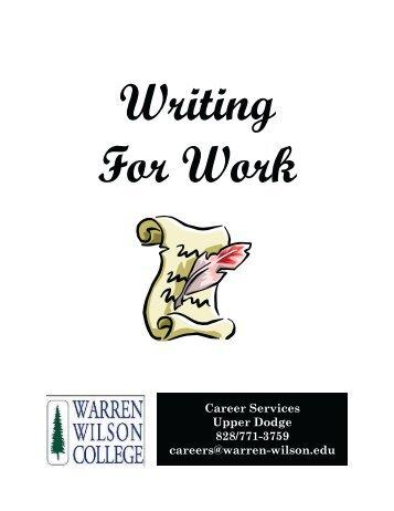 Writing For Work 2012.pub - Warren Wilson College