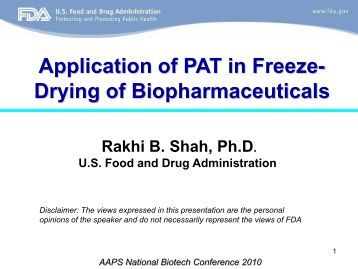 Application of PAT in Freeze- Drying of Biopharmaceuticals