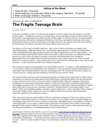 The Fragile Teenage Brain