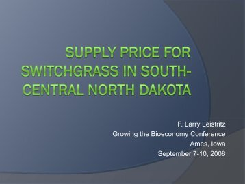 Supply Price for Switchgrass in south-central North Dakota