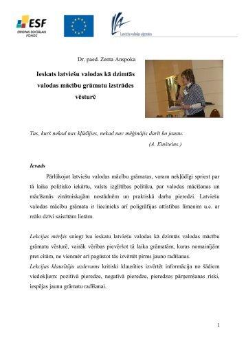 Ieskats latviešu valodas kā dzimtās valodas mācību ... - bilingvals.lv