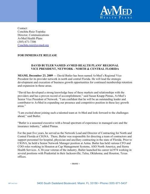 David Butler Named Avmed Health Plans Regional Vice President