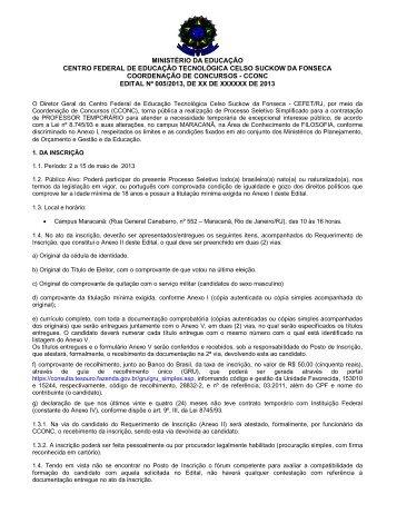 edital 005-2013 - CEFET/RJ – Portal de Notícias