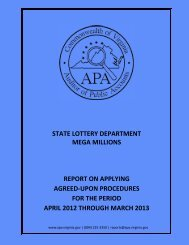 State Lottery Department Mega Millions report on Applying Agreed ...