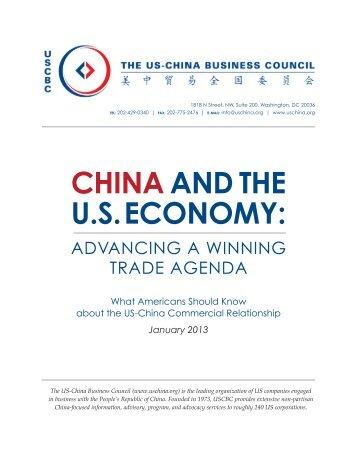 CHINAAND THE U.S. ECONOMY: - US China Business Council