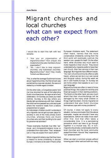 what can we expect from each other? Migrant churches and local ...
