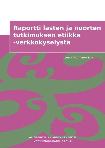 Raportti lasten ja nuorten tutkimuksen etiikka -verkkokyselystä