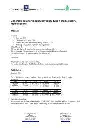 Generelle data for landbruksvegbru type 1 stålbjelkebru med tredekke.