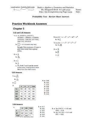 Probability Test – Review Sheet Answers