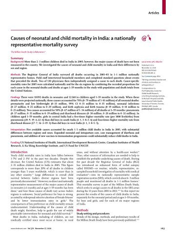 Causes of neonatal and child mortality in India - Centre for Global ...