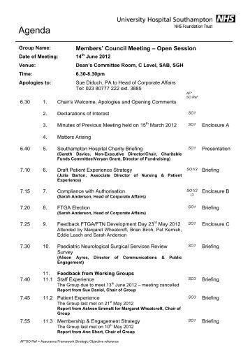 Papers Members' Council - 14 June 2012 - University Hospital ...