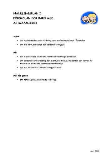 Handlingsplan i förskolan för barn med astma eller allergi - Sundsvall