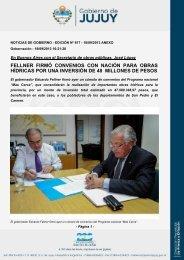 fellner firmó convenios con nación para obras hídricas por una ...