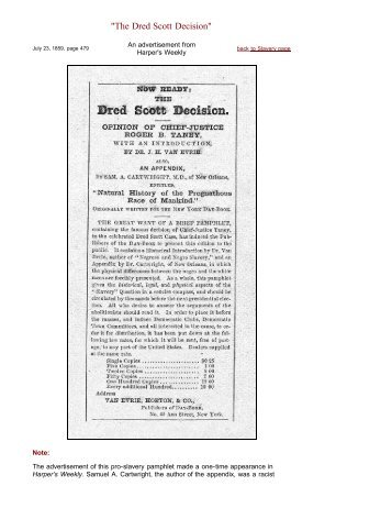 "Harper's Weekly Advertisment: ""The Dred Scott Decision"""