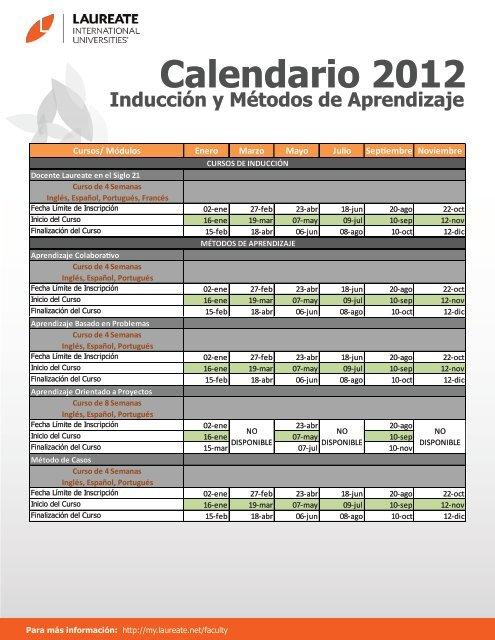 Calendario 2012 - My Laureate