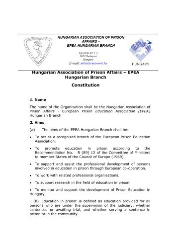 Hungarian Association of Prison Affairs – EPEA Hungarian Branch ...