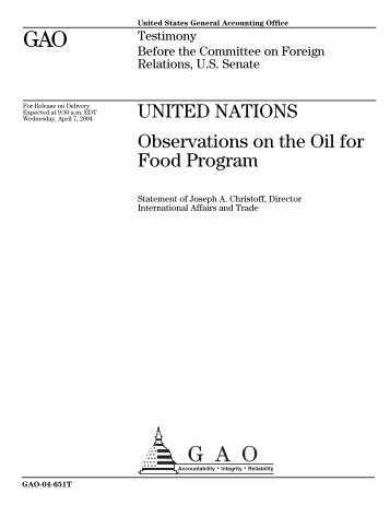 Observations on the Oil for Food Program - Iraq Watch
