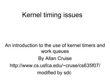 Kernel timing issues