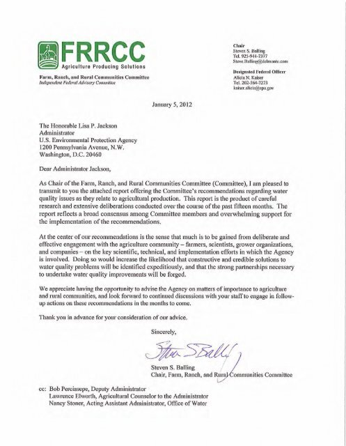 fl Agriculture FRRCC - US Environmental Protection Agency