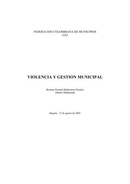 VIOLENCIA Y GESTION MUNICIPAL - Acnur