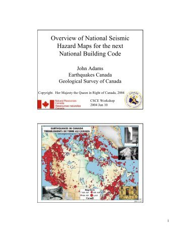 Overview of National Seismic Hazard Maps for the next National ...