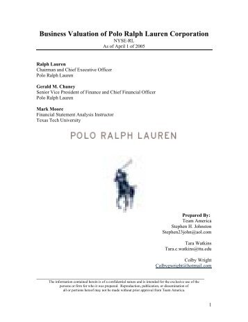 Business Valuation of Polo Ralph Lauren Corporation - Mark Moore ...