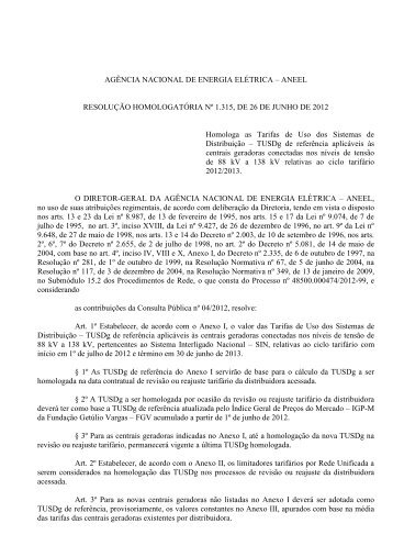 AGÊNCIA NACIONAL DE ENERGIA ELÉTRICA – ANEEL - Cogen
