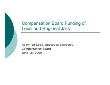 Compensation Board Funding of Local and Regional Jails
