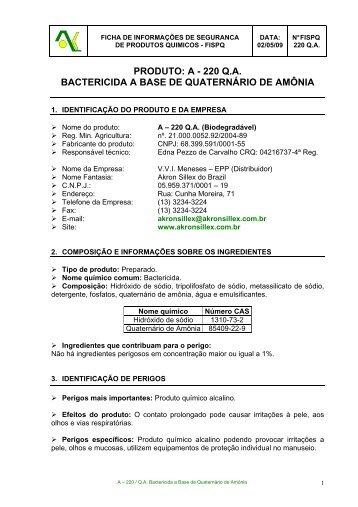 220 qa bactericida a base de quaternário de amônia