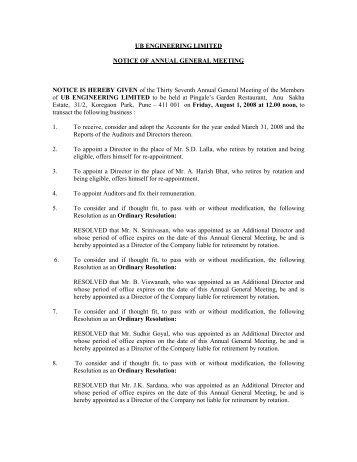 UB ENGINEERING LIMITED NOTICE OF ANNUAL ... - UB Group