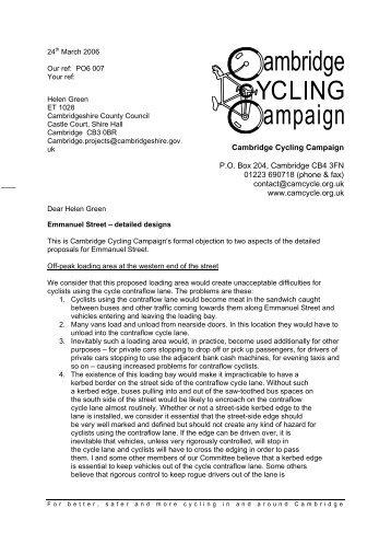 Cambridge Cycling Campaign » Emmanuel Street - detailed designs