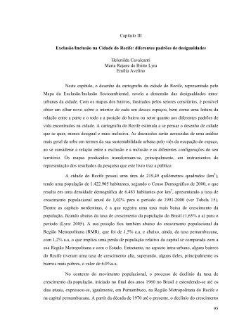 95 Capítulo III Exclusão/Inclusão na Cidade do Recife: diferentes ...