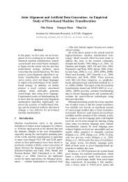 Joint Alignment and Artificial Data Generation: An Empirical ... - A*Star
