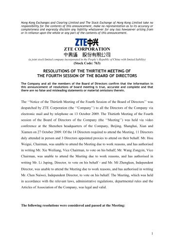 ZTE Corporation RESOLUTIONS OF THE THIRTIETH MEETING OF ...