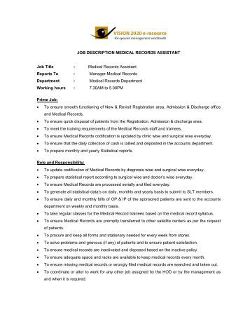 Job Description Medical Records Assistant Laico. King County