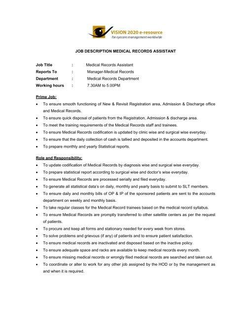 Medical Records Manager Job Description | Job Description Medical Records Assistant Laico